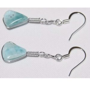 (J99) Larimar Stone Marble Silver Dangle Earrings